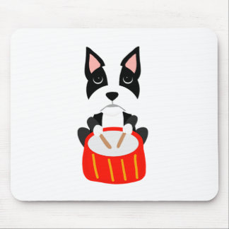 Mousepad Cão legal de Boston Terrier que joga cilindros
