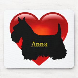 Mousepad Cão preto de Scotland da silhueta de Terrier do