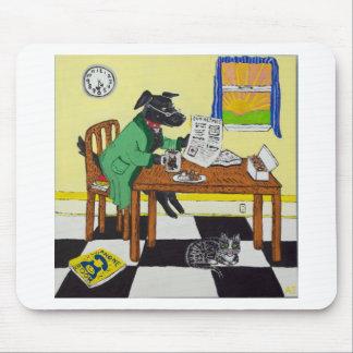 Mousepad Cão que aprecia o café e as rosquinhas