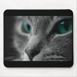 Mousepad Cara cinzenta do gato da pele com os olhos verdes
