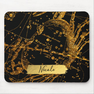 Mousepad Caranguejo astrológico celestial do cancer do ouro