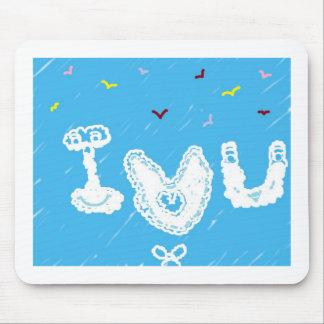 Mousepad Caras da nuvem eu te amo