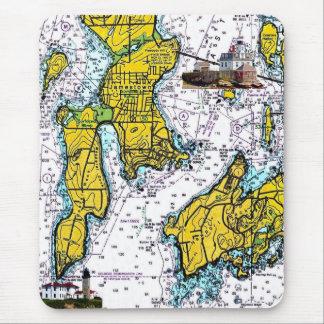Mousepad Carta náutica de Jamestown RI com faróis