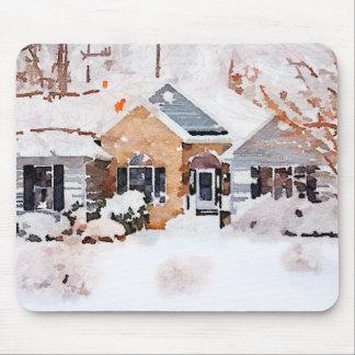Mousepad Casa do inverno da aguarela