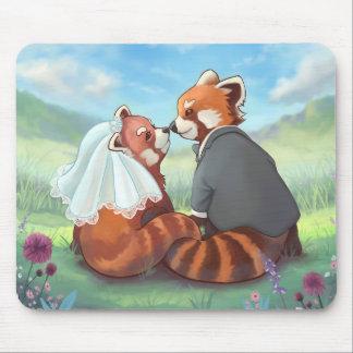Mousepad Casal bonito da panda vermelha no amor