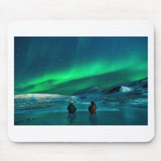 Mousepad Casal verde da paisagem da aurora boreal