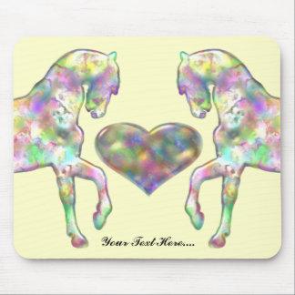 Mousepad Cavalo das crianças e coração do amor