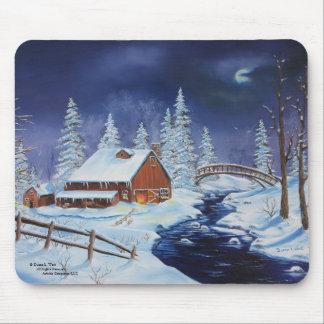 Mousepad Celeiro do inverno, paisagem da noite, Lua cheia