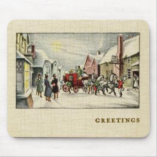 Mousepad Cena da cidade do Victorian no Natal