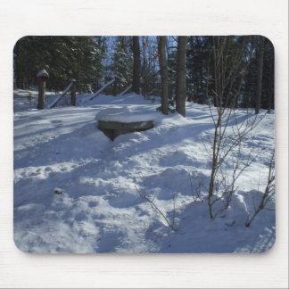 Mousepad Cena da neve da manhã do inverno