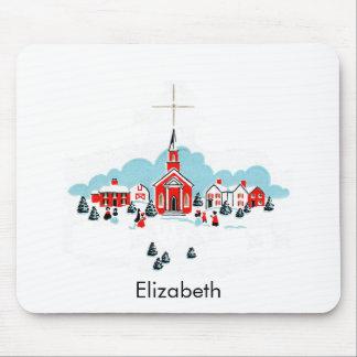 Mousepad Cena do Natal com uma igreja e uma estrela