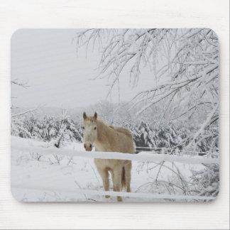 Mousepad cenário do inverno do cavalo do tapete do rato