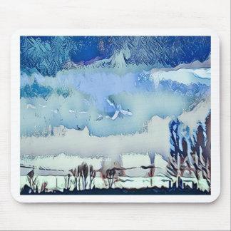 Mousepad Céu colorido do horizonte do abstrato do azul do