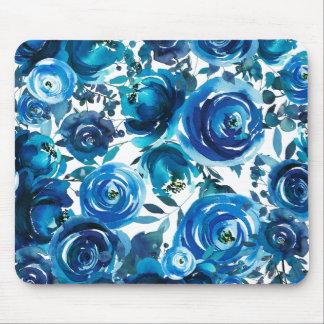 Mousepad Chique elegante das flores florais azuis do índigo