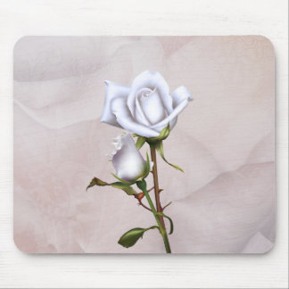 Mousepad Chique elegante macio dos rosas brancos