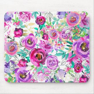 Mousepad Chique floral moderno brilhante cor-de-rosa roxo