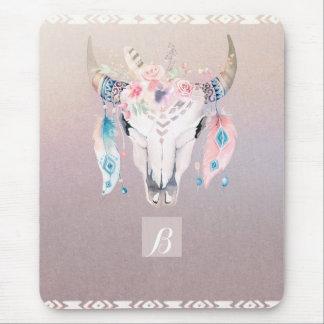 Mousepad Chique iridescente do crânio floral Glam rústico