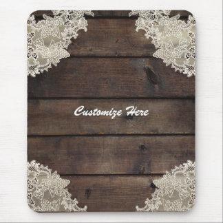 Mousepad Chique romântico rústico da madeira do celeiro &