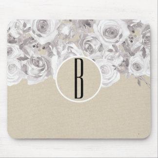 Mousepad Chique rústico branco Kraft dos rosas de inverno
