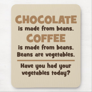 Mousepad Chocolate, café, feijões, vegetais - novidade