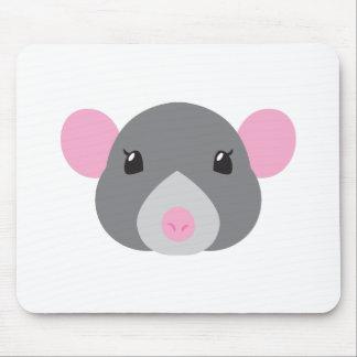 Mousepad cinza da cara do rato da menina