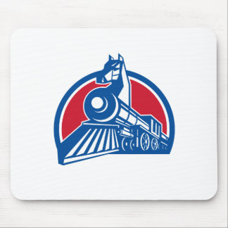 Mousepad Círculo locomotivo do cavalo de ferro retro