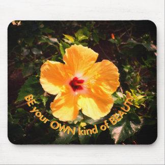 Mousepad Citações amarelas do hibiscus e da motivação