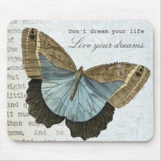 Mousepad Citações inspiradas positivas da borboleta do