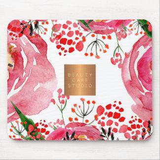 Mousepad Cobre elegante das peônias do rosa da aguarela