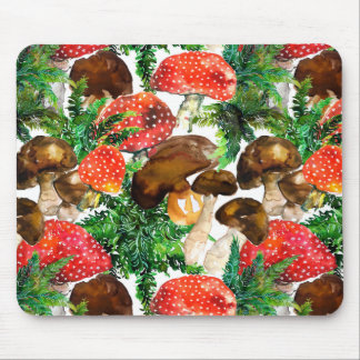 Mousepad Cogumelos da aguarela e teste padrão verde da