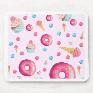 Mousepad Colagem cor-de-rosa da rosquinha