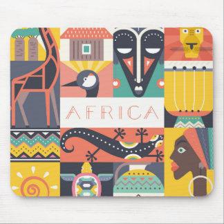 Mousepad Colagem simbólica africana da arte