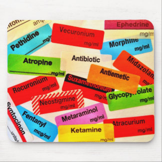 Mousepad colorido da etiqueta da droga