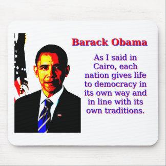 Mousepad Como eu disse no Cairo - Barack Obama