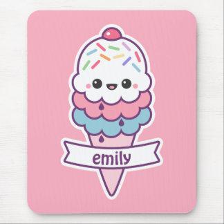 Mousepad Cone cor-de-rosa do sorvete de Kawaii