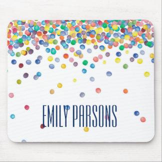 Mousepad Confetes coloridos da aguarela personalizados