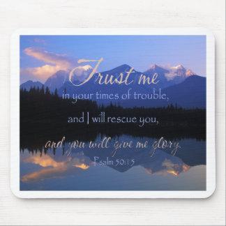 Mousepad Confiança em mim em período do 50:15 dos salmos do