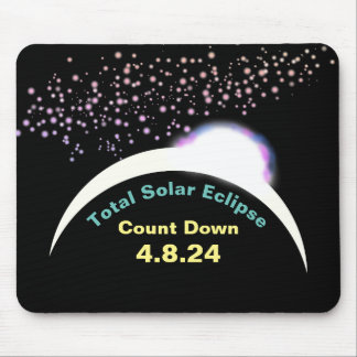 Mousepad Contagem regressiva total 4.8.24 do eclipse solar
