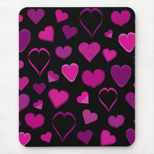 Mousepad cor-de-rosa & do lilac dos corações