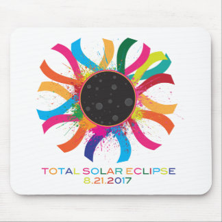 Mousepad Cor de texto total da corona do eclipse 2017 solar