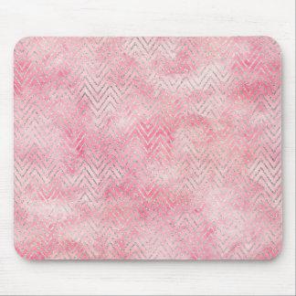 Mousepad Cora a aguarela de prata cor-de-rosa de Chevron do