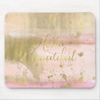 Mousepad Cora a aguarela Glam do ouro cor-de-rosa olá!