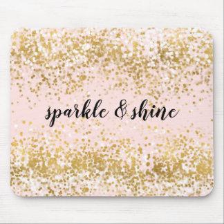 Mousepad Cora a faísca cor-de-rosa dos confetes do ouro