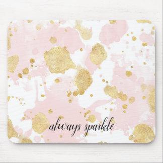 Mousepad Cora o abstrato cor-de-rosa dos Splatters do ouro