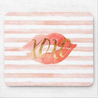 Mousepad Cora o beijo cor-de-rosa da aguarela do ouro XOXO