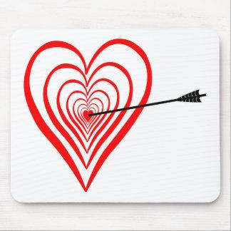 Mousepad Coração alvo com seta
