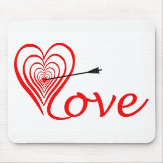 Mousepad Coração amor alvo com seta