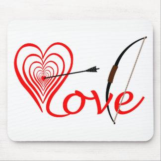 Mousepad Coração amor alvo com seta e arco