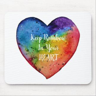 Mousepad Coração bonito do arco-íris da aguarela