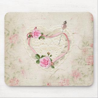 Mousepad Coração bonito do vintage do laço, flores,